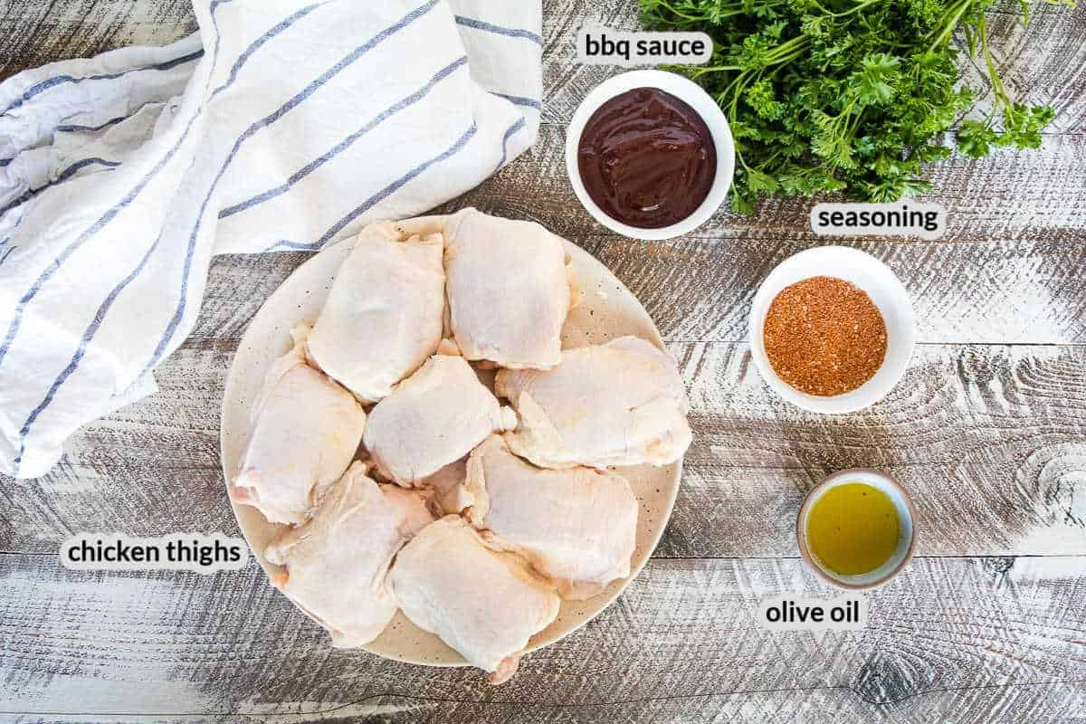 Overhead image of Smoked Chicken Thighs Ingredients