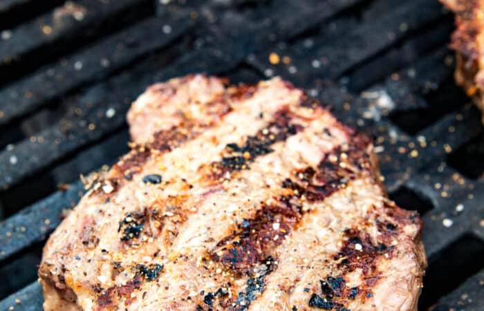 Ribeye Steak with sear marks on grill