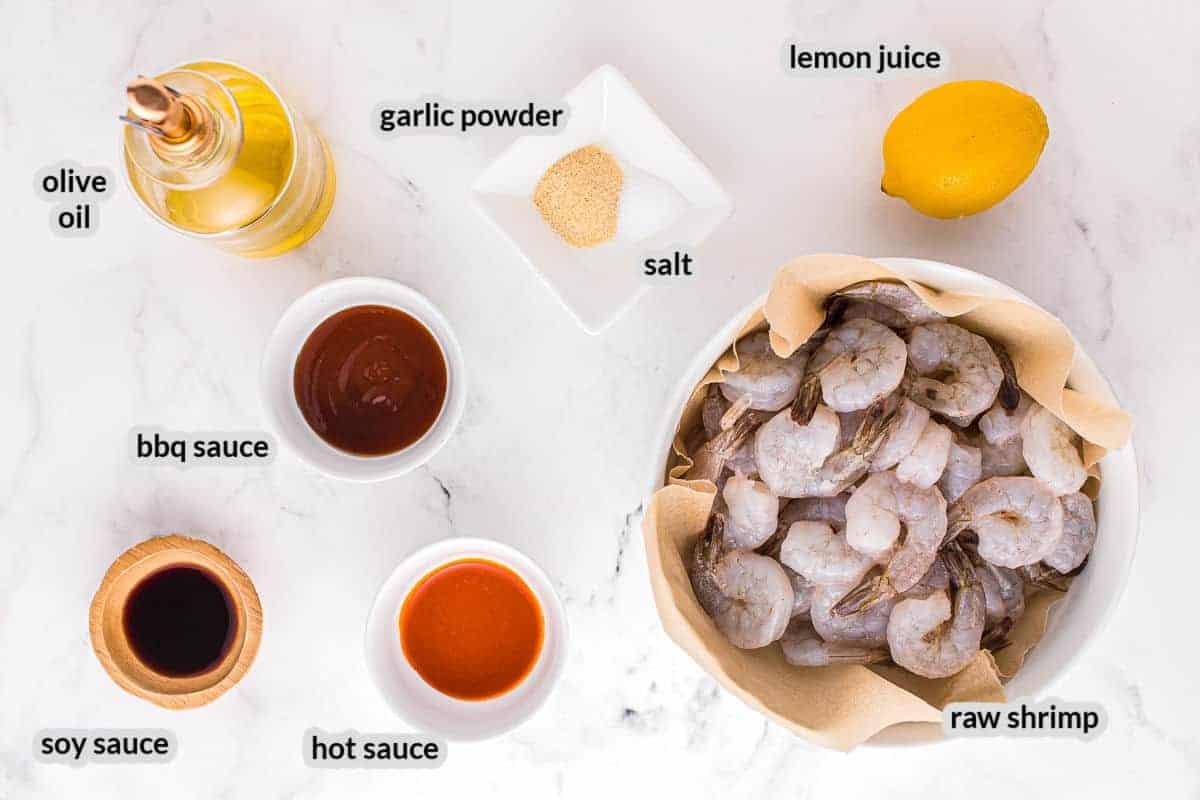 Overhead image of Spicy Grilled Shrimp Skewers Ingredients